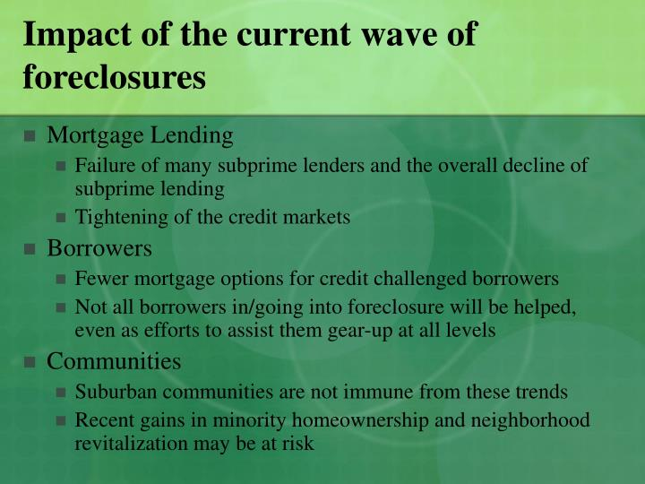 Impact of the current wave of foreclosures