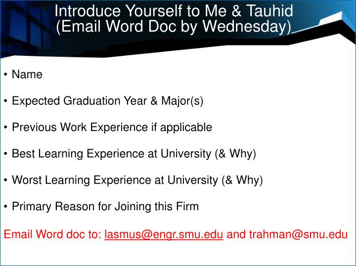Introduce Yourself to Me & Tauhid