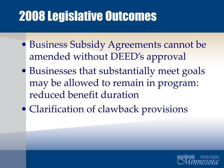 2008 Legislative Outcomes
