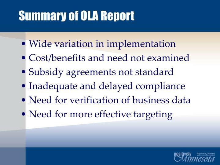 Summary of ola report