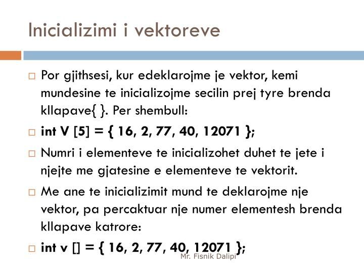Inicializimi i vektoreve