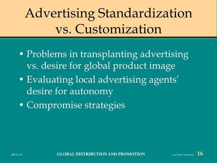 Advertising Standardization vs. Customization