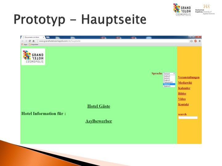 Prototyp - Hauptseite