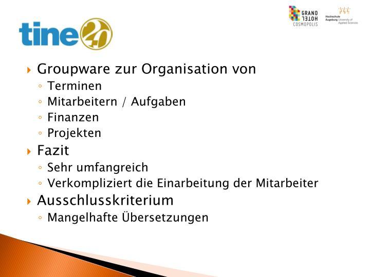 Groupware zur Organisation von