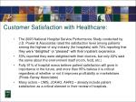 customer satisfaction with healthcare
