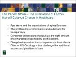 the perfect storm the confluence of factors that will catalyze change in healthcare