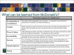 what can be learned from mcdonald s