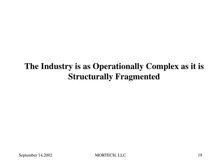 The Industry is as Operationally Complex as it is Structurally Fragmented