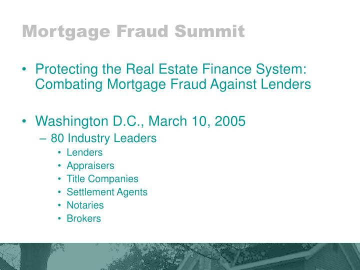 Mortgage Fraud Summit