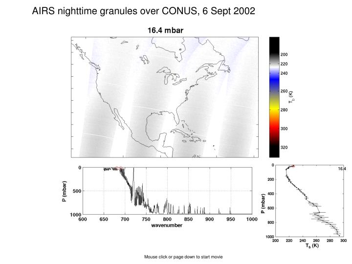 AIRS nighttime granules over CONUS, 6 Sept 2002