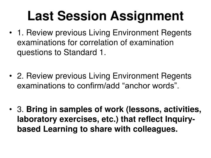 Last Session Assignment