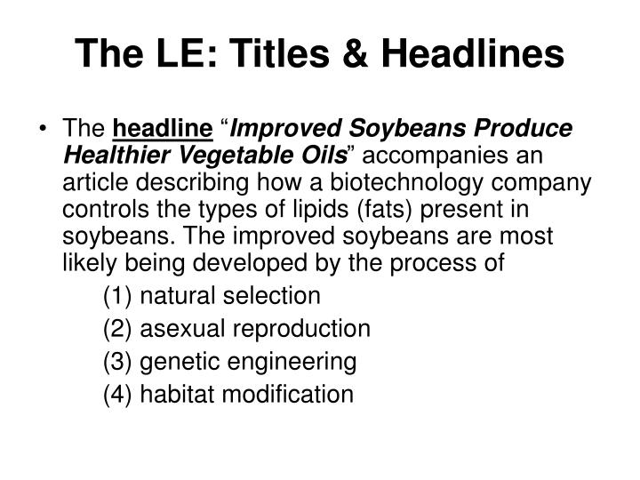The LE: Titles & Headlines