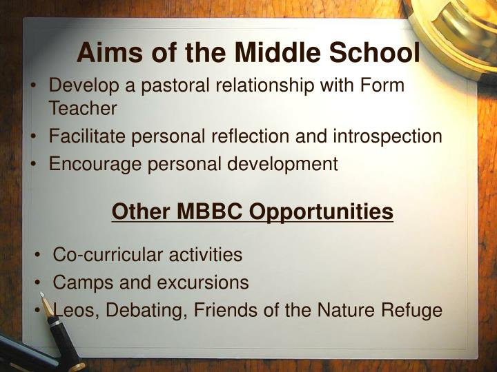 Aims of the Middle School