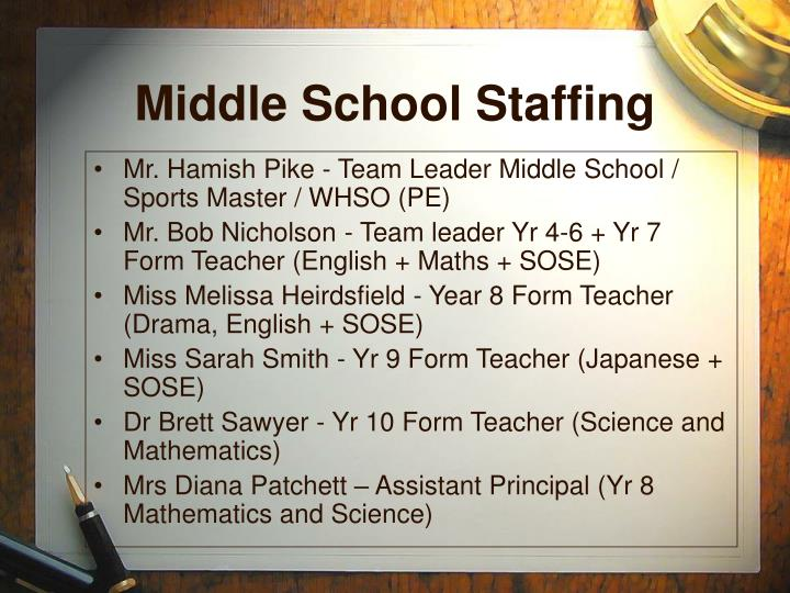 Middle School Staffing
