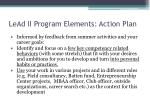 lead ii program elements action plan
