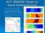 act region target for future lensing surveys