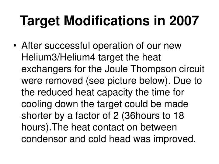 Target Modifications in 2007