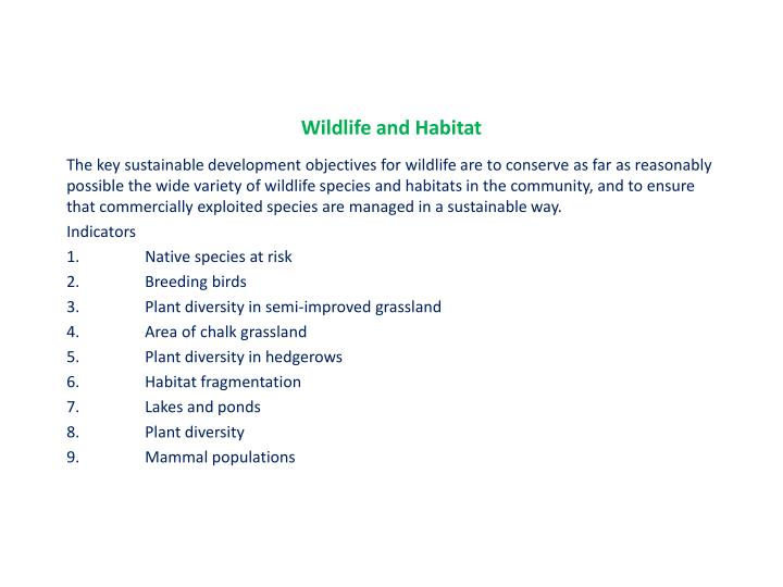 Wildlife and Habitat