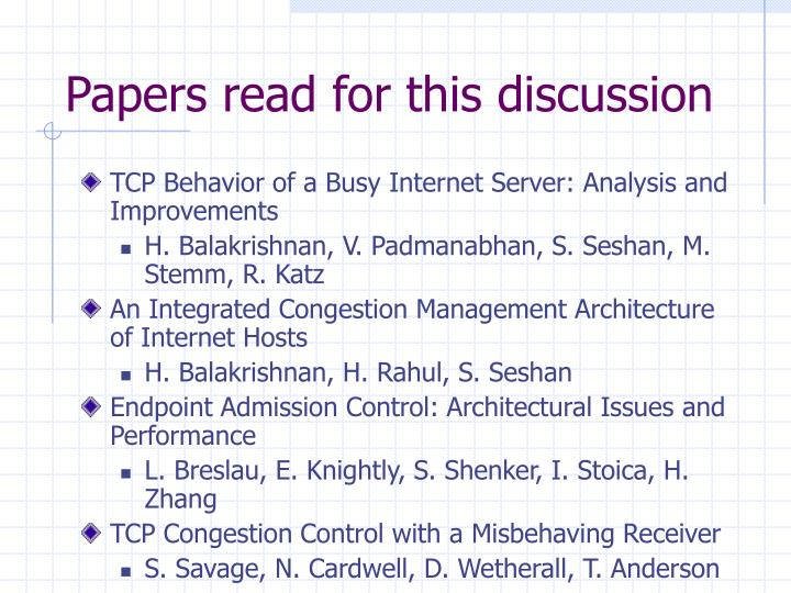 Papers read for this discussion