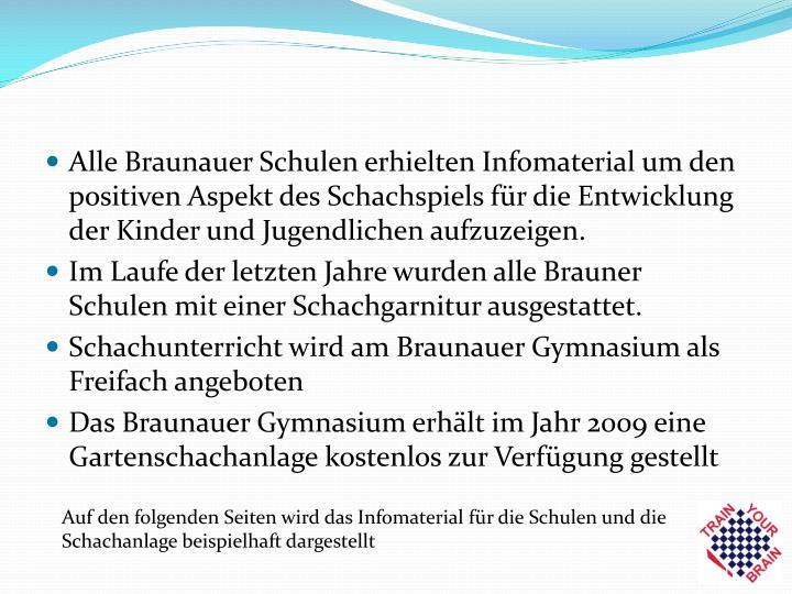 Alle Braunauer Schulen erhielten Infomaterial um den positiven Aspekt des Schachspiels für die Entwicklung der Kinder und Jugendlichen aufzuzeigen.