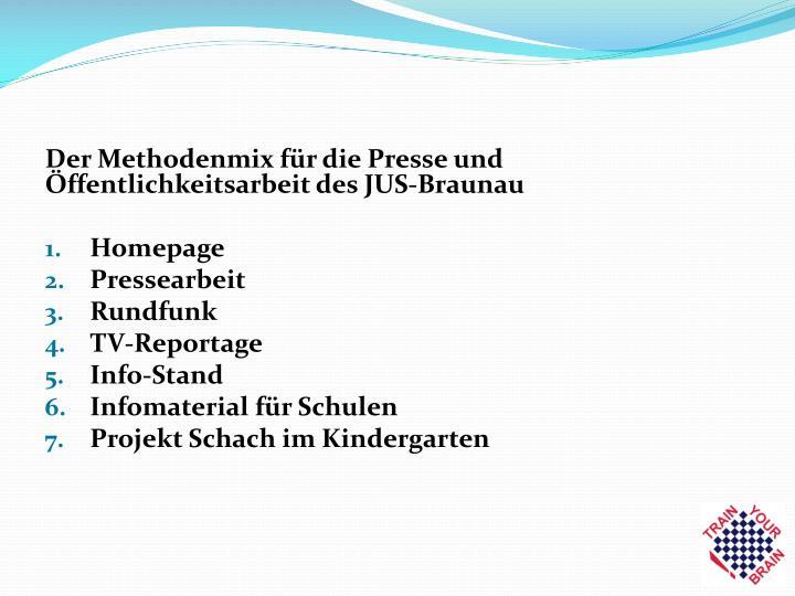 Der Methodenmix für die Presse und Öffentlichkeitsarbeit des JUS-Braunau