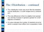 the t distribution continued