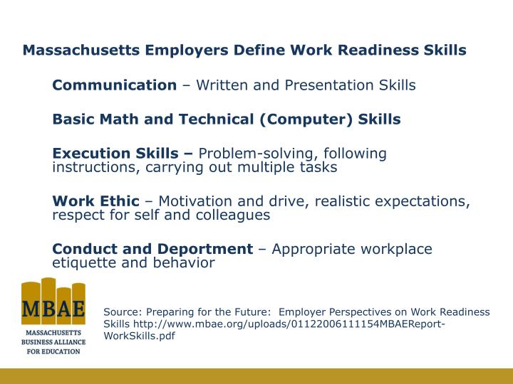 Massachusetts Employers Define Work Readiness Skills