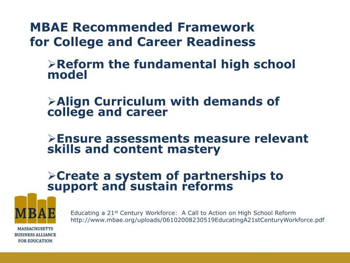 MBAE Recommended Framework for College and Career Readiness
