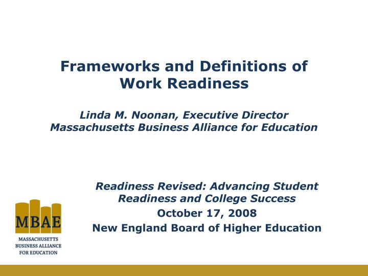Frameworks and Definitions of