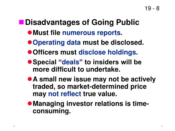 Disadvantages of Going Public