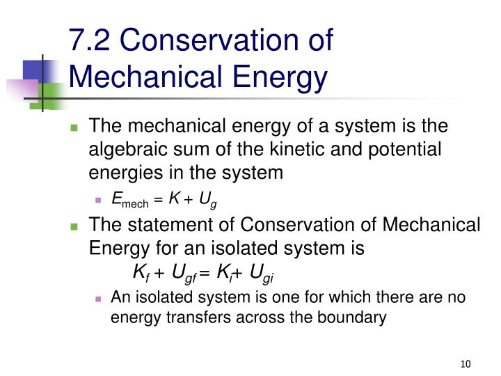 7.2 Conservation of Mechanical Energy