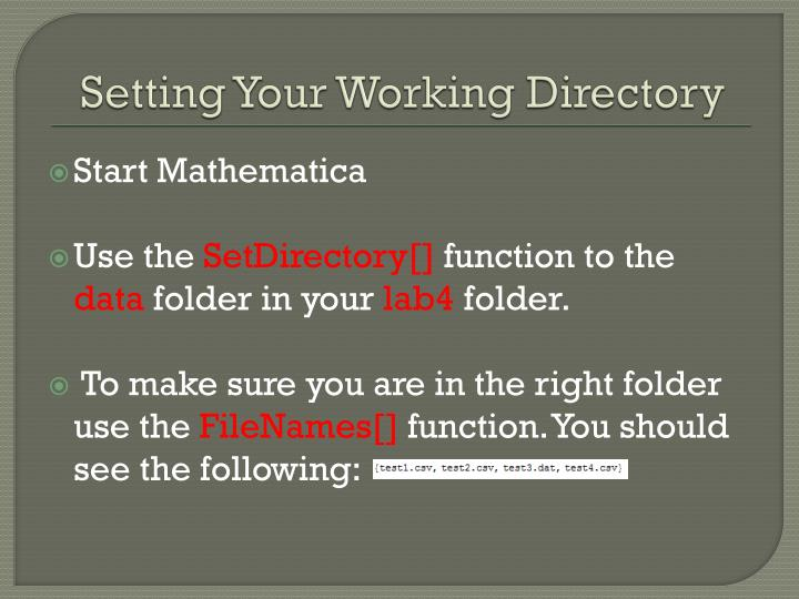 Setting Your Working Directory