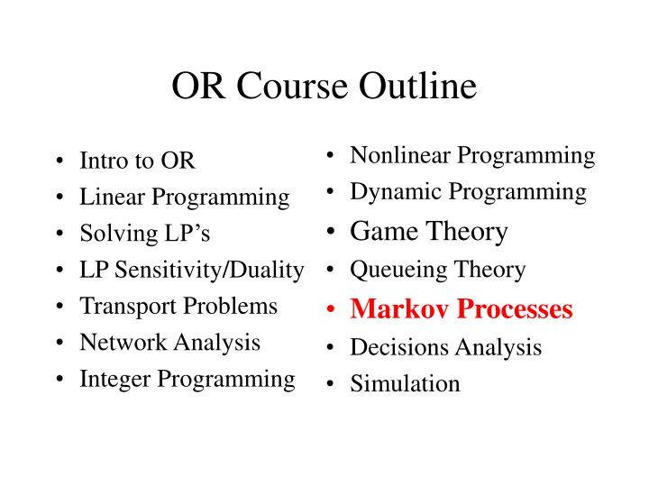 Or course outline