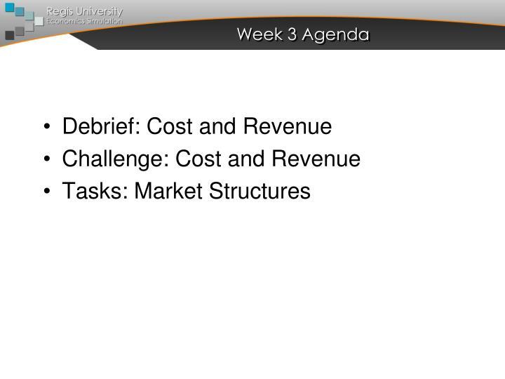 Week 3 Agenda