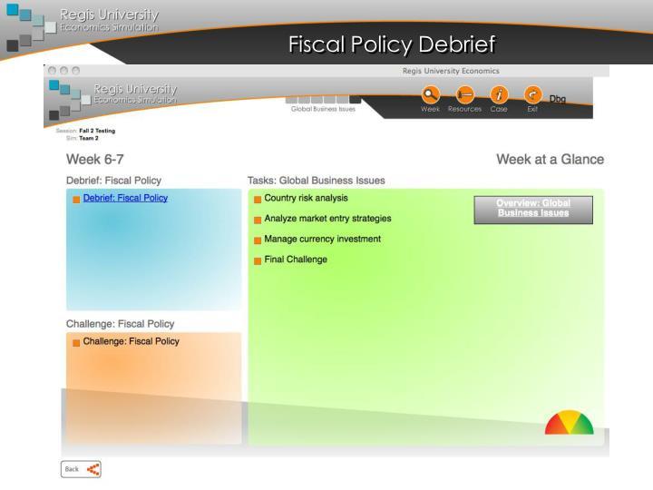 Fiscal Policy Debrief