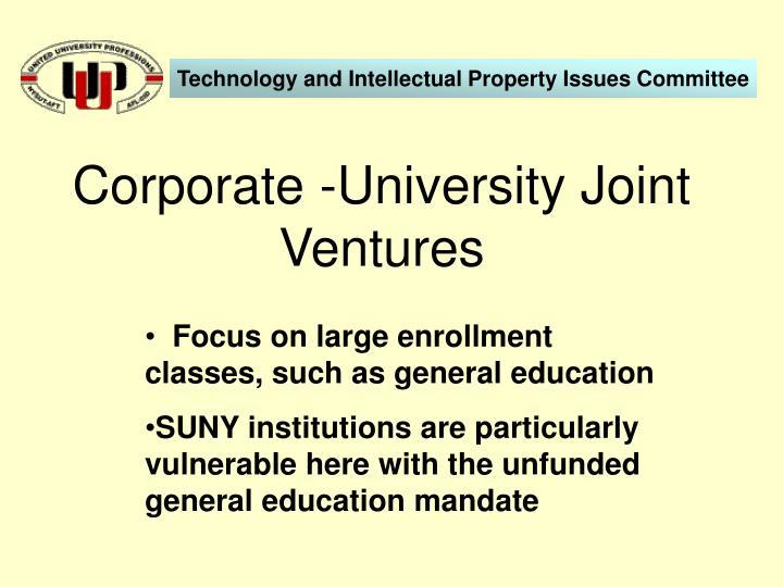 Corporate -University Joint Ventures