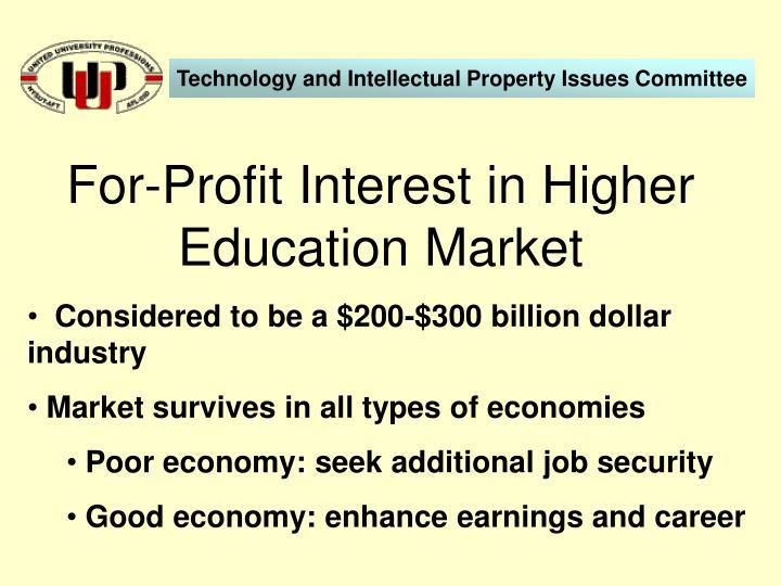 For profit interest in higher education market