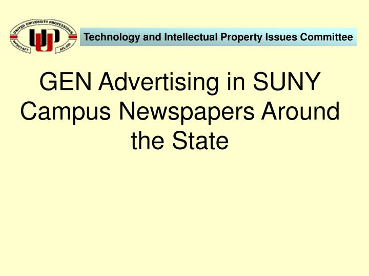 GEN Advertising in SUNY Campus Newspapers Around the State