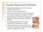 student reported facilitators