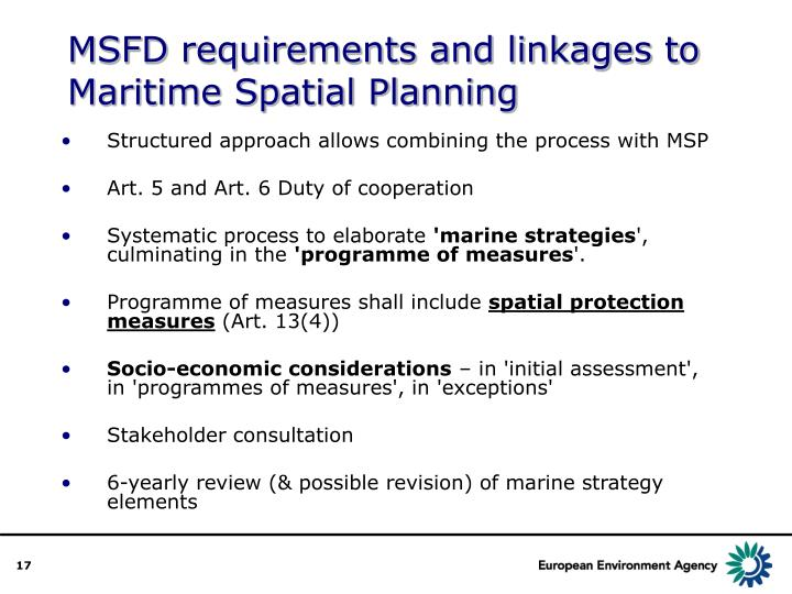 MSFD requirements and linkages to Maritime Spatial Planning