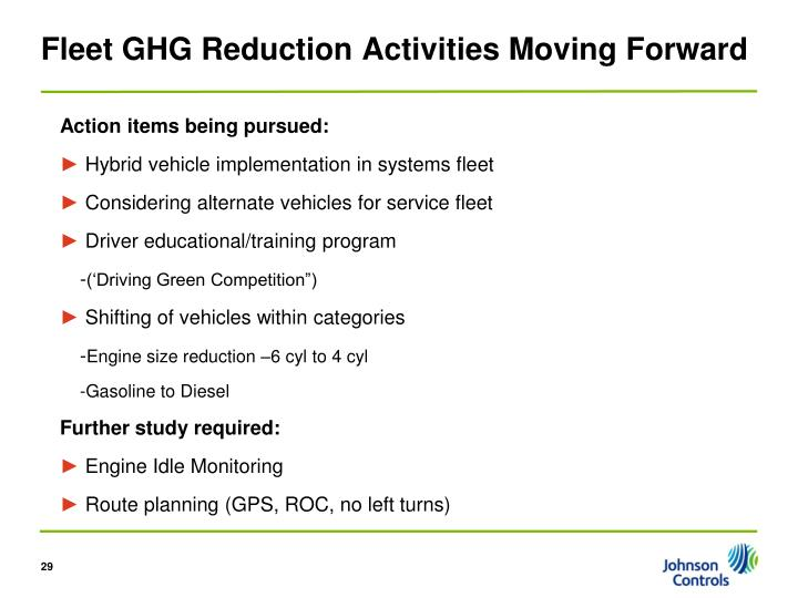 Fleet GHG Reduction Activities Moving Forward