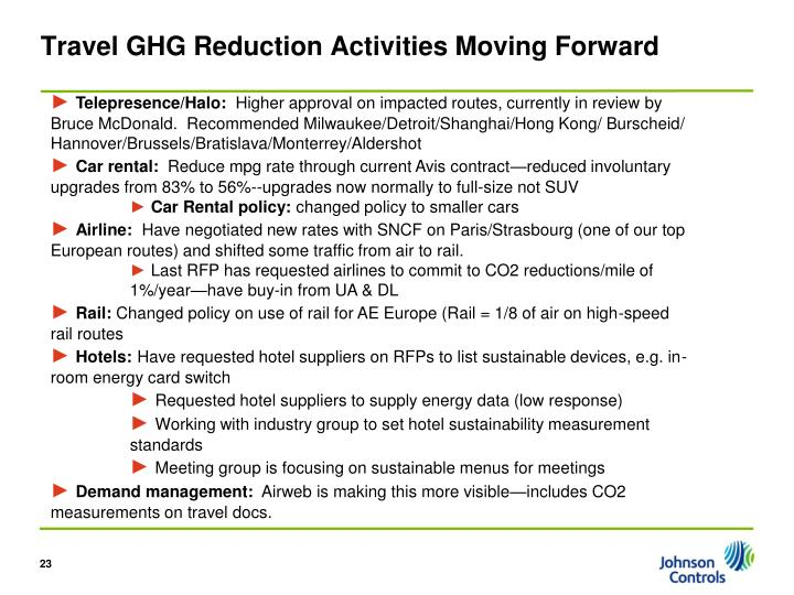 Travel GHG Reduction Activities Moving Forward