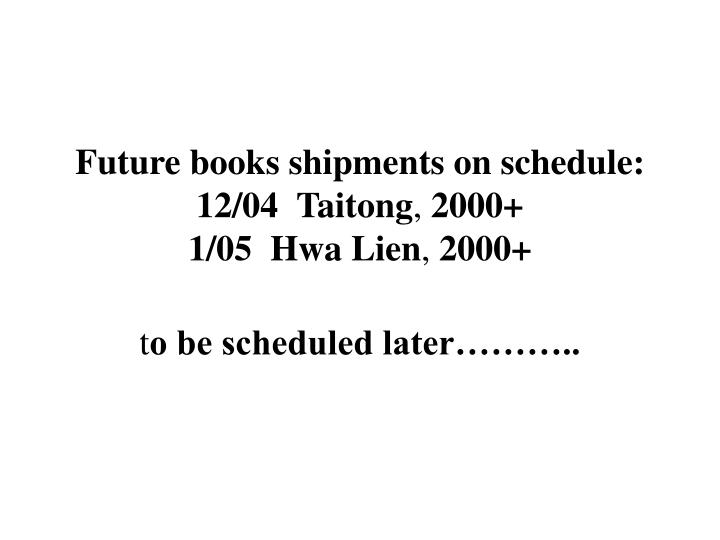 Future books shipments on schedule: