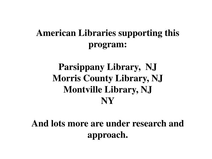 American Libraries supporting this program: