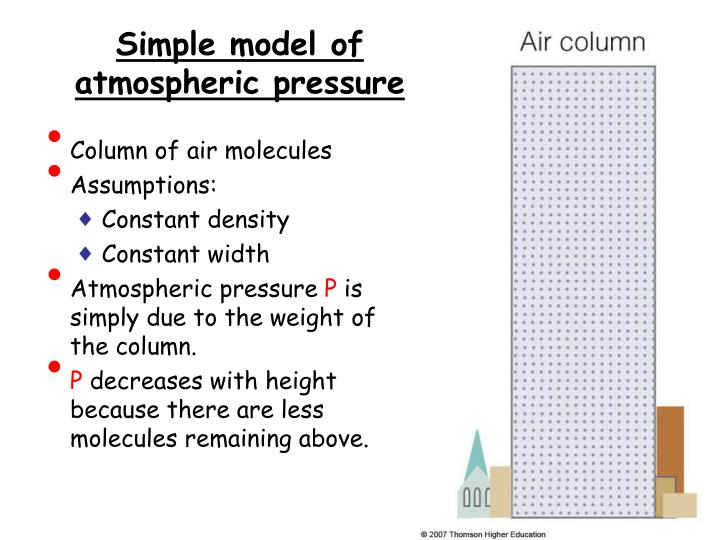 Simple model of atmospheric pressure