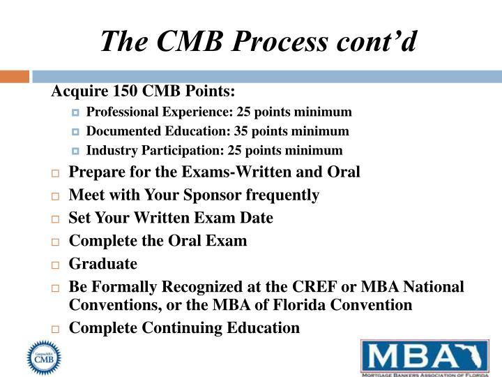 The CMB Process cont'd