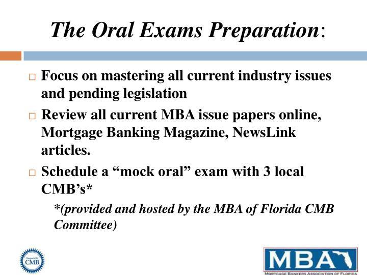 The Oral Exams Preparation
