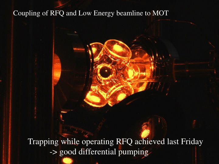 Coupling of RFQ and Low Energy beamline to MOT