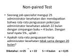 non paired test