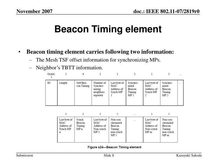 Beacon Timing element
